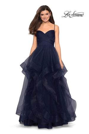 La Femme 27223 prom dress images.  La Femme 27223 is available in these colors: Blush, Dark Berry, Navy.