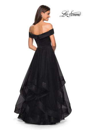 La Femme 27224 prom dress images.  La Femme 27224 is available in these colors: Black, Blush, White.