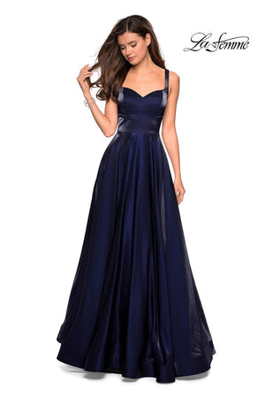 La Femme 27227 prom dress images.  La Femme 27227 is available in these colors: Navy, Purple, Red.