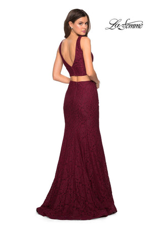 La Femme 27262 prom dress images.  La Femme 27262 is available in these colors: Electric Blue, Forest Green, White, Wine.