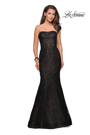 La Femme 27267 prom dress images.  La Femme 27267 is available in these colors: Black, Light Gold, Light Pink, Navy.