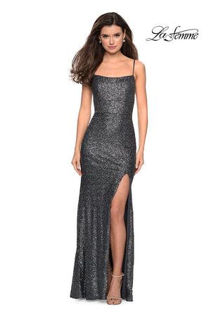 La Femme 27272 prom dress images.  La Femme 27272 is available in these colors: Charcoal, Garnet, Rose Gold.