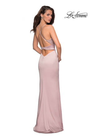 La Femme 27274 prom dress images.  La Femme 27274 is available in these colors: Champagne, Navy.