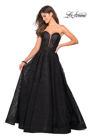 La Femme 27284 prom dress images.  La Femme 27284 is available in these colors: Black Nude, Cloud Blue, Dark Berry.