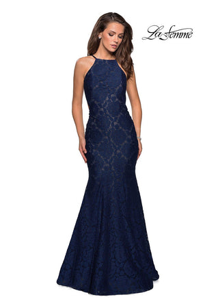 La Femme 27289 prom dress images.  La Femme 27289 is available in these colors: Navy, Pale Yellow, Red, White.