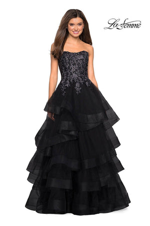 La Femme 27291 prom dress images.  La Femme 27291 is available in these colors: Black, Burgundy.