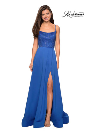 La Femme 27293 prom dress images.  La Femme 27293 is available in these colors: Champagne, Lavender, Royal Blue.