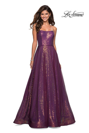 La Femme 27296 prom dress images.  La Femme 27296 is available in these colors: Dark Berry.