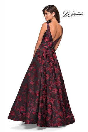 La Femme 27298 prom dress images.  La Femme 27298 is available in these colors: Red Black.