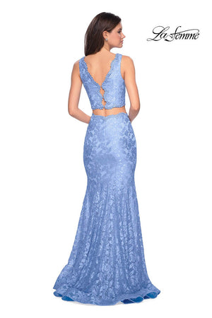 La Femme 27302 prom dress images.  La Femme 27302 is available in these colors: Cloud Blue, Pale Yellow, Red, White.