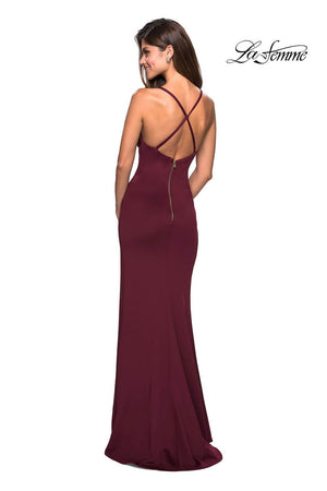 La Femme 27317 prom dress images.  La Femme 27317 is available in these colors: Navy, White, Wine.
