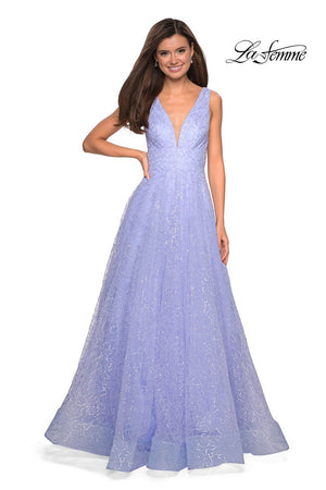 La Femme 27323 prom dress images.  La Femme 27323 is available in these colors: Lilac Mist, White.