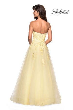 La Femme 27330 prom dress images.  La Femme 27330 is available in these colors: Blush, Dusty Blue, Lilac Mist, Pale Yellow, Wine.