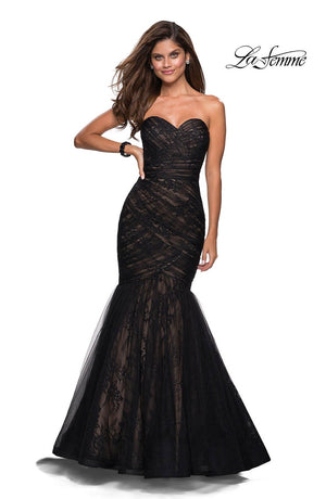 La Femme 27333 prom dress images.  La Femme 27333 is available in these colors: Black Nude.