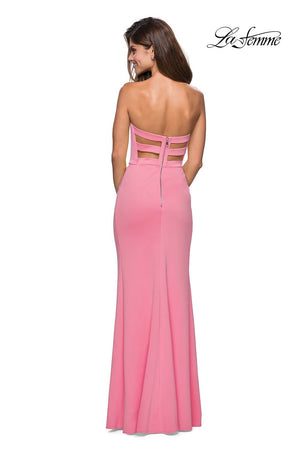 La Femme 27335 prom dress images.  La Femme 27335 is available in these colors: Yellow.