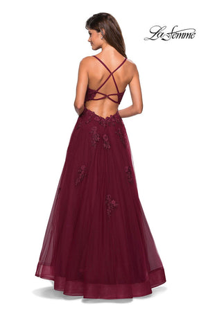 La Femme 27441 prom dress images.  La Femme 27441 is available in these colors: Burgundy, Navy, Pale Yellow, Silver.