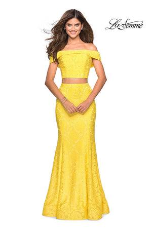 La Femme 27443 prom dress images.  La Femme 27443 is available in these colors: Electric Blue, Hot Fuchsia, Lavender, Red, White, Yellow.