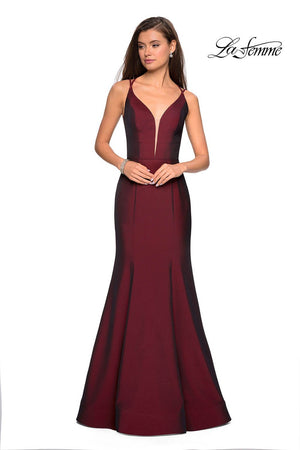 La Femme 27446 prom dress images.  La Femme 27446 is available in these colors: Burgundy, Navy, Violet.