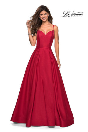 La Femme 27447 prom dress images.  La Femme 27447 is available in these colors: Navy, Red.