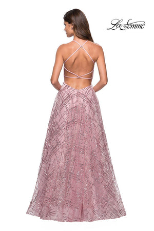 La Femme 27451 prom dress images.  La Femme 27451 is available in these colors: Black Nude, Lilac Mist, Mauve, White Nude.