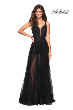 La Femme 27457 prom dress images.  La Femme 27457 is available in these colors: Black.