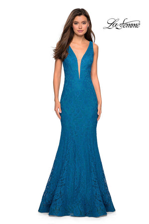 La Femme 27464 prom dress images.  La Femme 27464 is available in these colors: Dark Berry, Dark Turquoise, Electric Blue, Navy.