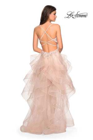 La Femme 27466 prom dress images.  La Femme 27466 is available in these colors: Blush.