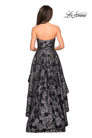 La Femme 27468 prom dress images.  La Femme 27468 is available in these colors: Black Silver.