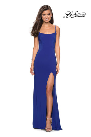 La Femme 27469 prom dress images.  La Femme 27469 is available in these colors: Black, Deep Red, Royal Blue.