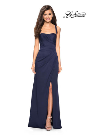 La Femme 27470 prom dress images.  La Femme 27470 is available in these colors: Navy, Silver, Wine.