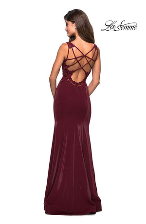 La Femme 27474 prom dress images.  La Femme 27474 is available in these colors: Wine.