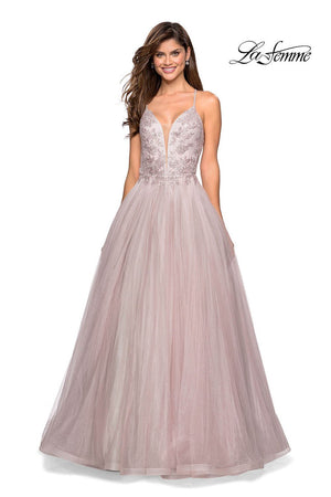 La Femme 27475 prom dress images.  La Femme 27475 is available in these colors: Cloud Blue Silver, Dusty Mauve.