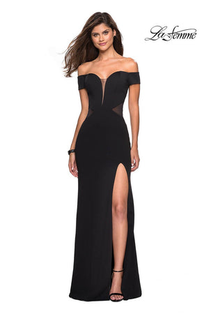 La Femme 27480 prom dress images.  La Femme 27480 is available in these colors: Black.