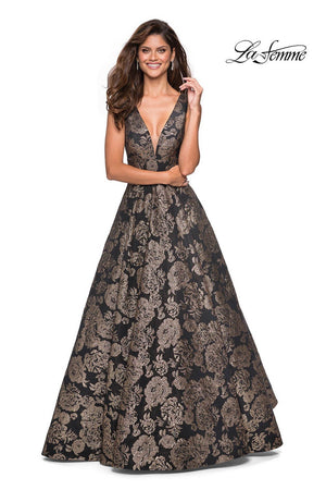 La Femme 27482 prom dress images.  La Femme 27482 is available in these colors: Gold Black.
