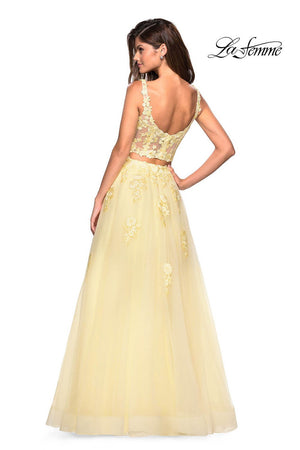 La Femme 27489 prom dress images.  La Femme 27489 is available in these colors: Blush, Dusty Blue, Pale Yellow, Periwinkle.