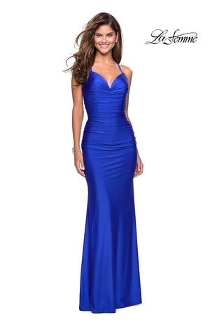 La Femme 27501 prom dress images.  La Femme 27501 is available in these colors: Black, Burgundy, Gunmetal, Hot Pink, Sapphire Blue.