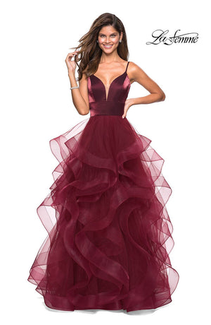 La Femme 27502 prom dress images.  La Femme 27502 is available in these colors: Blush, Burgundy, Gunmetal, Navy.