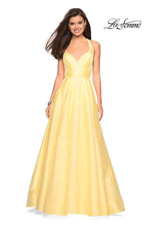 La Femme 27504 prom dress images.  La Femme 27504 is available in these colors: Black, Indigo, Red, White, Yellow.