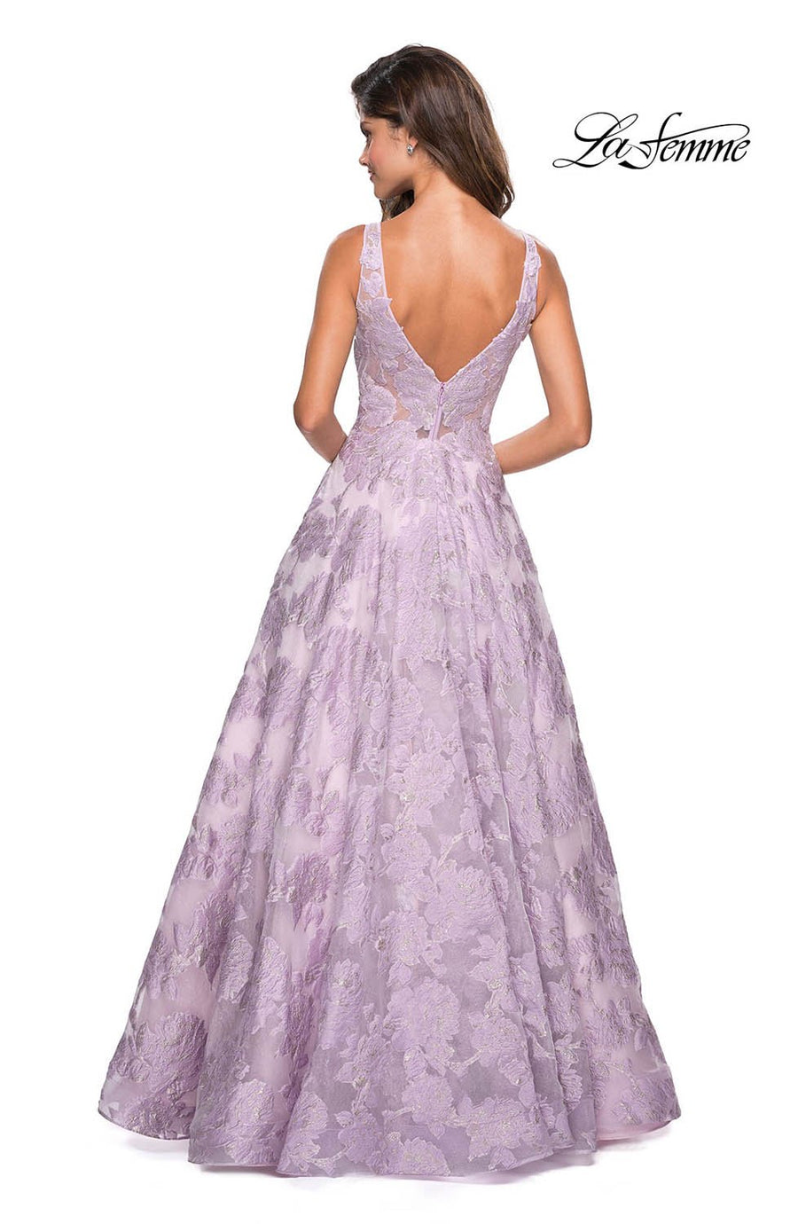 La Femme 27505 prom dress images.  La Femme 27505 is available in these colors: Lavender, Light Pink, Silver.