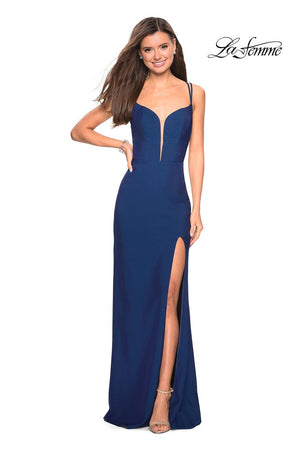 La Femme 27512 prom dress images.  La Femme 27512 is available in these colors: Burgundy, Navy, Violet.