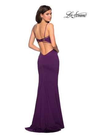 La Femme 27516 prom dress images.  La Femme 27516 is available in these colors: Deep Red, Plum, Royal Blue.