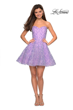 La Femme 27517 prom dress images.  La Femme 27517 is available in these colors: Black, Blush, Lavender.