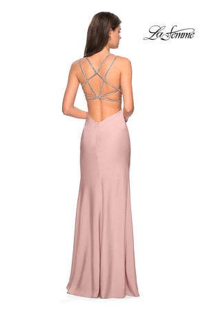 La Femme 27519 prom dress images.  La Femme 27519 is available in these colors: Blush, Cloud Blue, Silver.