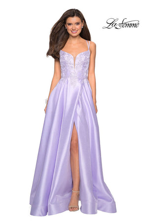 La Femme 27528 prom dress images.  La Femme 27528 is available in these colors: Blush, Lavender, Red, Sapphire Blue.