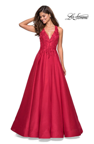 La Femme 27529 prom dress images.  La Femme 27529 is available in these colors: Indigo, Red.