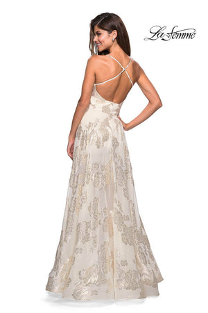 La Femme 27547 prom dress images.  La Femme 27547 is available in these colors: Ivory Gold.