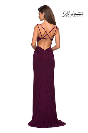 La Femme 27564 prom dress images.  La Femme 27564 is available in these colors: Black, Dark Berry, Red, Royal Blue.