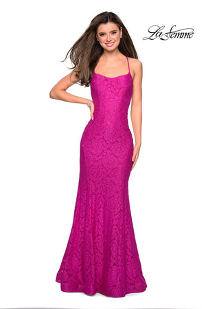 La Femme 27565 prom dress images.  La Femme 27565 is available in these colors: Gunmetal, Hot Pink, Navy, Periwinkle, White, Yellow.