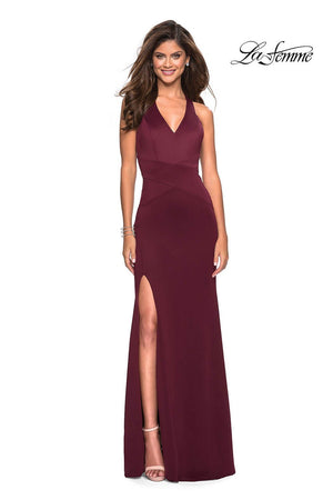 La Femme 27573 prom dress images.  La Femme 27573 is available in these colors: Gunmetal, Wine.
