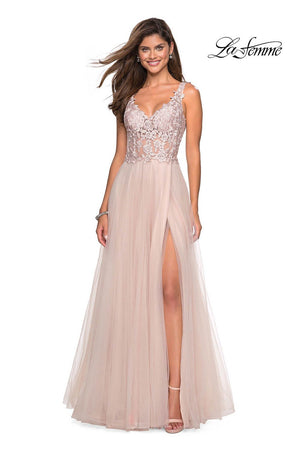 La Femme 27574 prom dress images.  La Femme 27574 is available in these colors: Blush, Gunmetal, Lilac Mist.